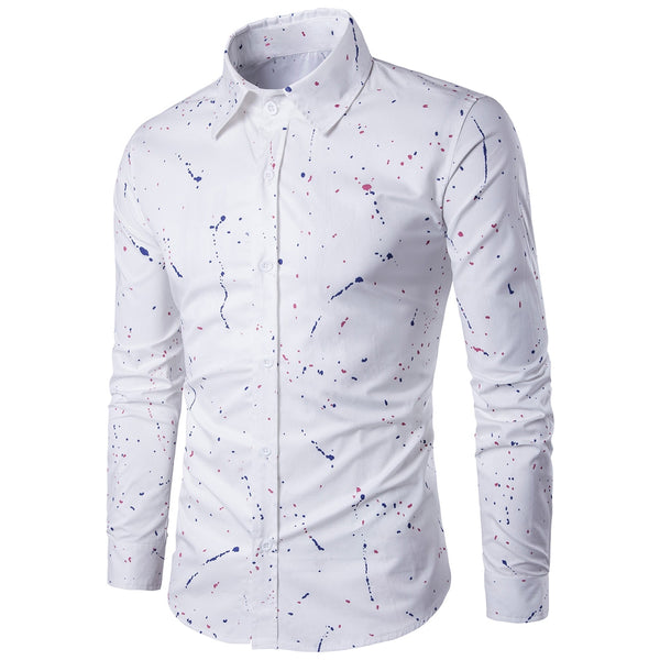 Paint Splatter Long Sleeve Shirt 8104