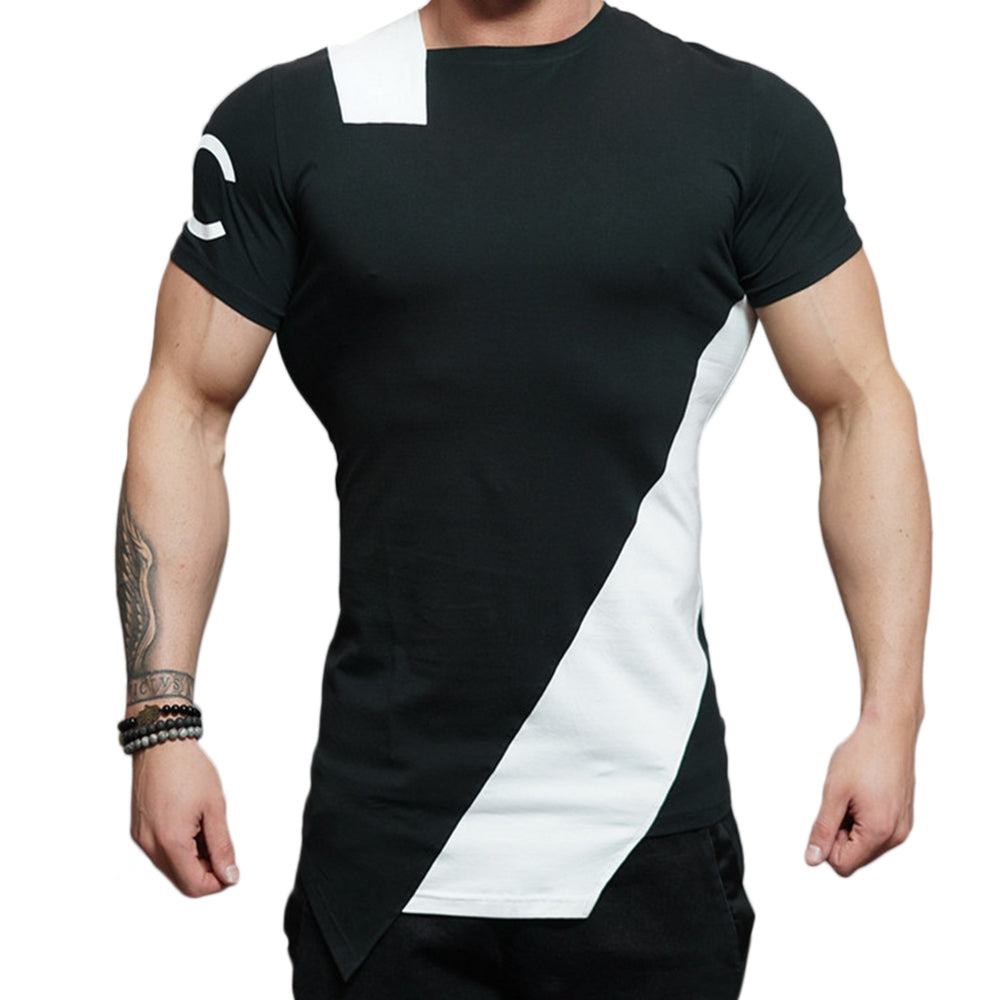 Asymmetric Color Block Short Sleeve Tee 8918