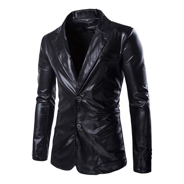 Men's Fashionable Shinny Blazer + Pants Twinset Suits