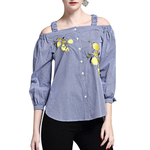 Puff Long Sleeve Cold Shoulder Plaid Embroidery Women Top 8216