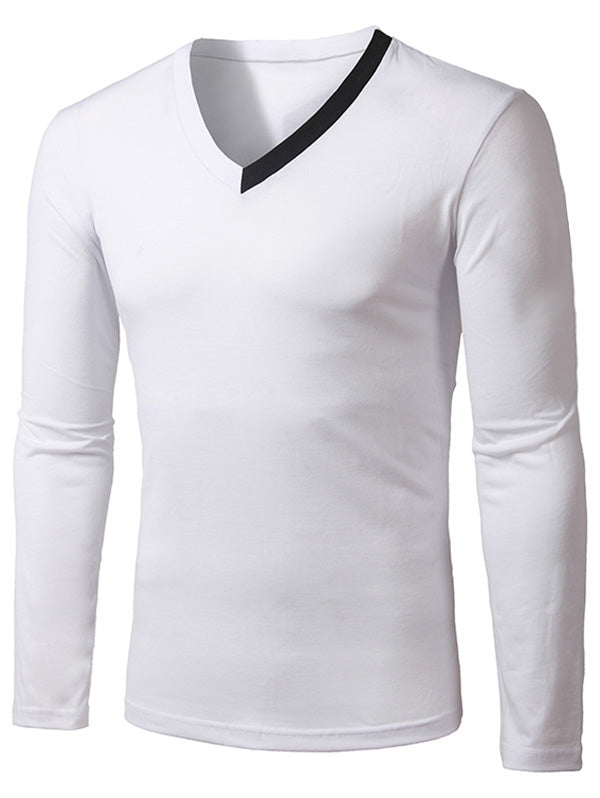 Casual Long Sleeve Cotton Tee for Men 8176