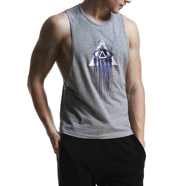 Round Neck Geometric Print Cotton Blends Tank Top For Men 9881