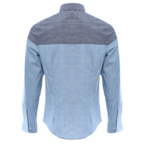 Slim Patchwork Button Design Male Long Sleeve Casual Shirt 9547