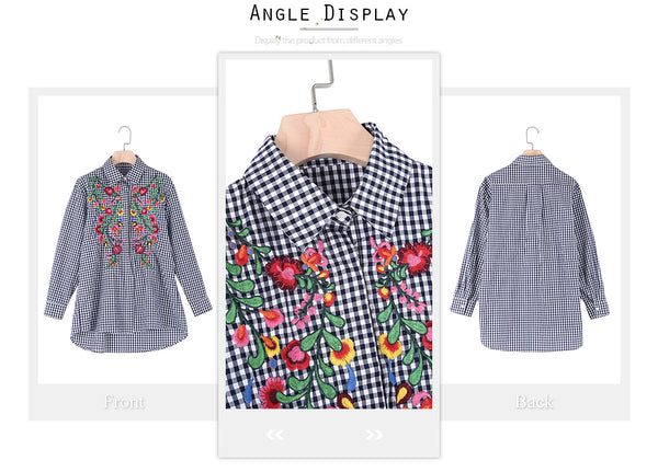 Stylish Long Sleeve Plaid Floral Embroidery Women Shirt 9094