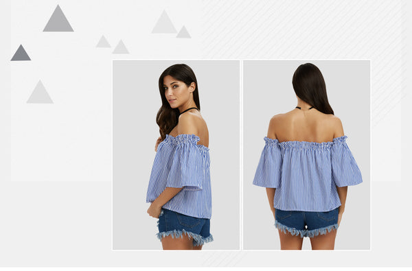 Sexy Off The Shoulder Bell Sleeve Women Blouse 5014