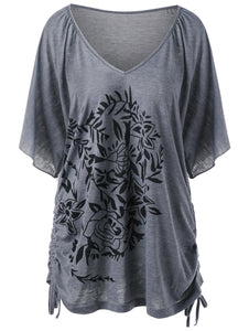 Straps Hem V Neck Floral Printed Women T Shirt 7040