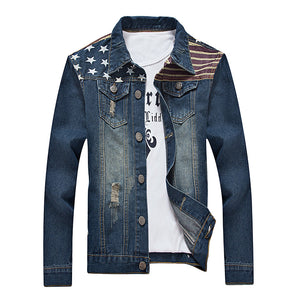 Star Stripe Print Distressed Jean Jacket 5051