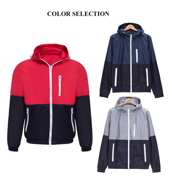 Casual Thin Color Block Zipper Design Long Sleeve Hoodies for Male 1122