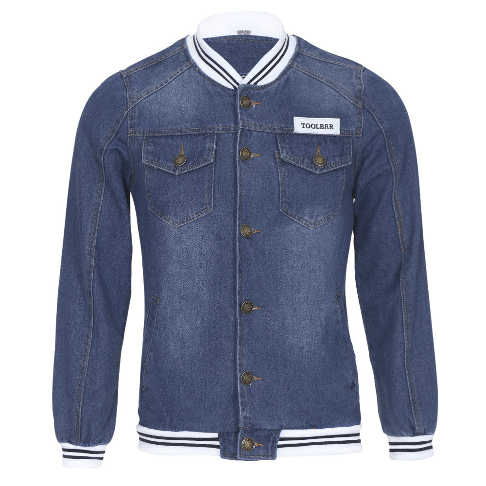 Pockets Design Varsity Striped Insert Denim Jacket 3565