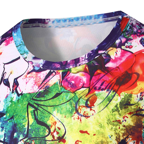 3D Abstract Printed Round Neck Short Sleeve T-Shirt For Men 3438