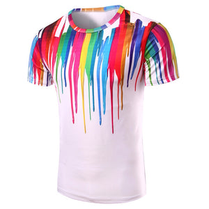 3D Colorful Vertical Splatter Paint T-Shirt 2310