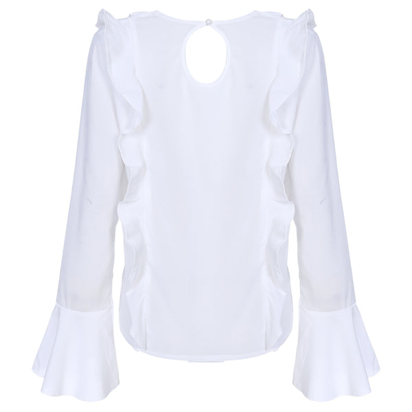 Stylish V Neck Bell Sleeve Ruffled Tie Chiffon Women Blouse 9246