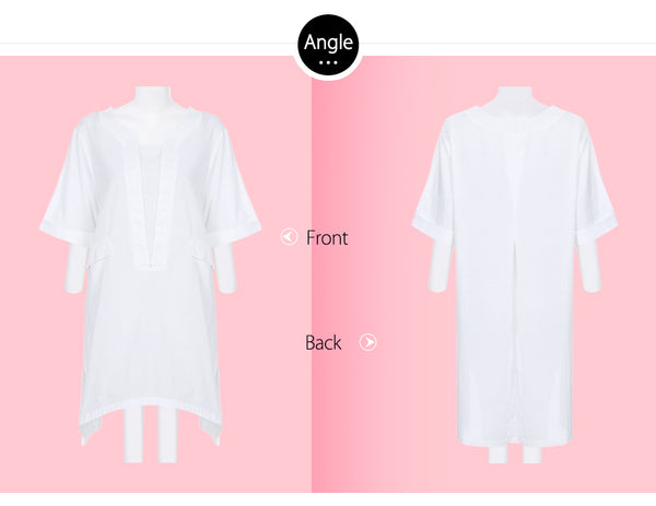 Casual Round Neck Long Blouse Loose Shirt for Women 7381