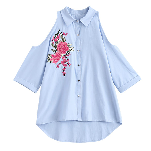 Floral Embroidered Cold Shoulder Shirt 8518