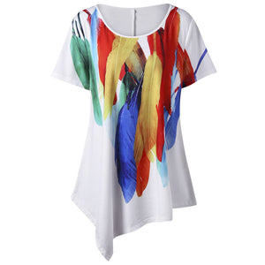 Feather Print Plus Size Asymmetric T-Shirt 2626