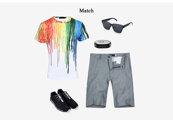 Colorful 3D Paint Splashed Printed Male Short Sleeve T Shirt 9501