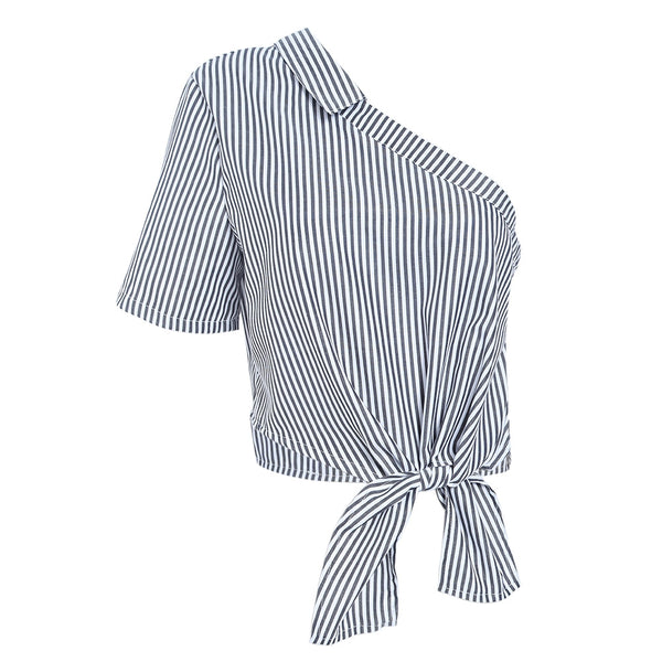 One Shoulder Short Sleeve Stripe Zipper Tie Women Crop Top 1385