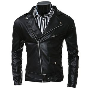 Turn-Collar PU-Leather Belt Embellished Epaulet Long Sleeve Jacket For Men 3834