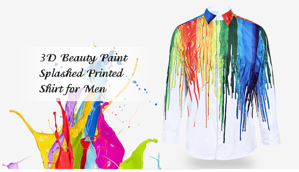 3D Inked Print Turndown Collar Long Sleeve Male Shirt 4490
