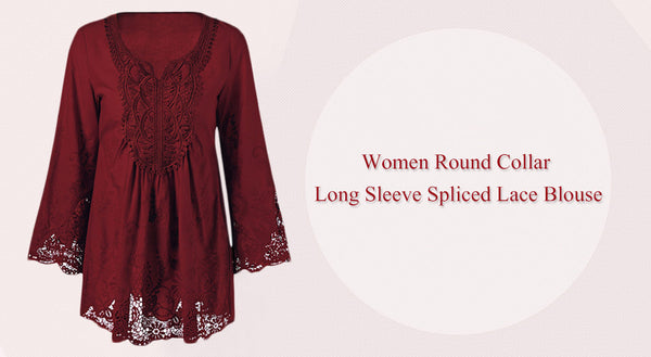 Trendy Round Collar Long Sleeve Lace Spliced Women Blouse 7219