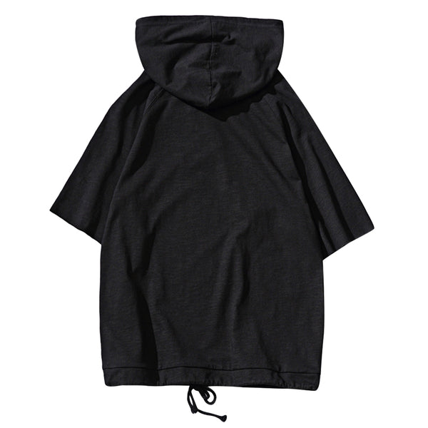 Cut Off Pullover Half Sleeve Solid Color Male Hoodies 6273