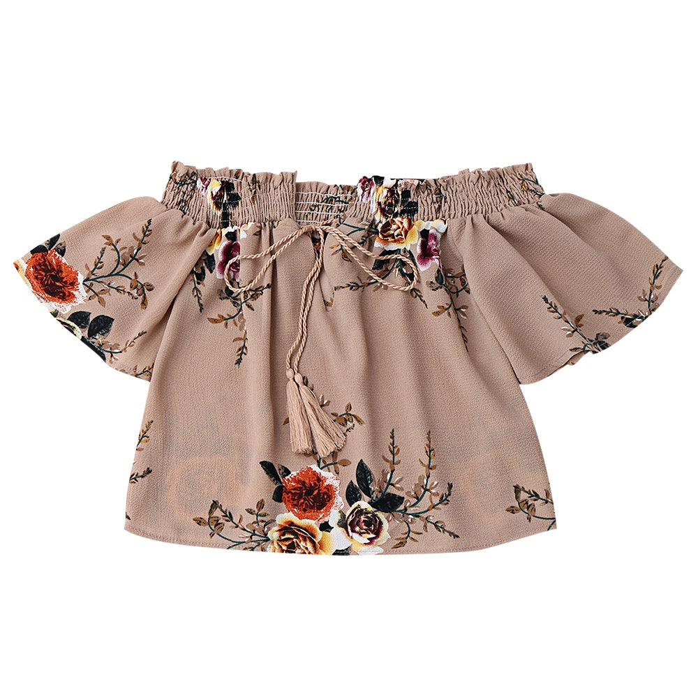 Floral Off Shoulder Cropped Blouse 9363
