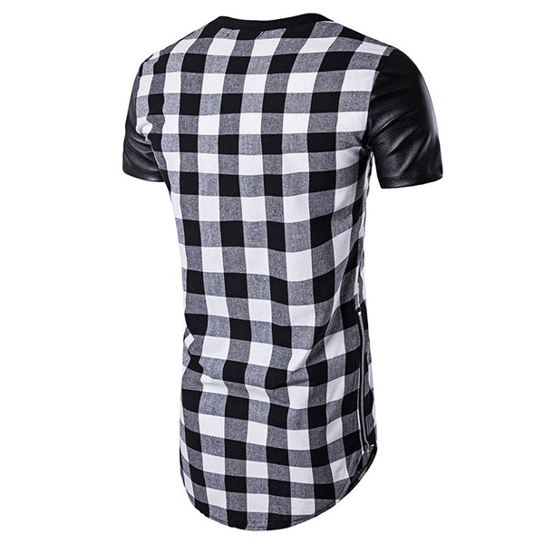 PU Leather Panel Side Zip Up Plaid Longline T-Shirt 9655