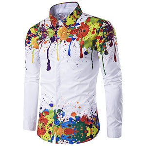 Colorful Splatter Paint Pattern Turndown Collar Long Sleeve Shirt 2647