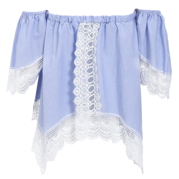 Off The Shoulder Short Sleeve Lace Spliced Women Crop Top 5500