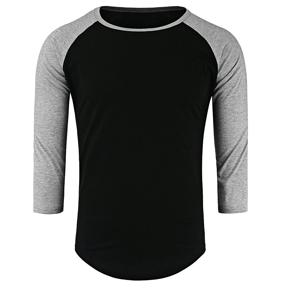 Crew Neck Panel Half Raglan Sleeve T-Shirt 2856