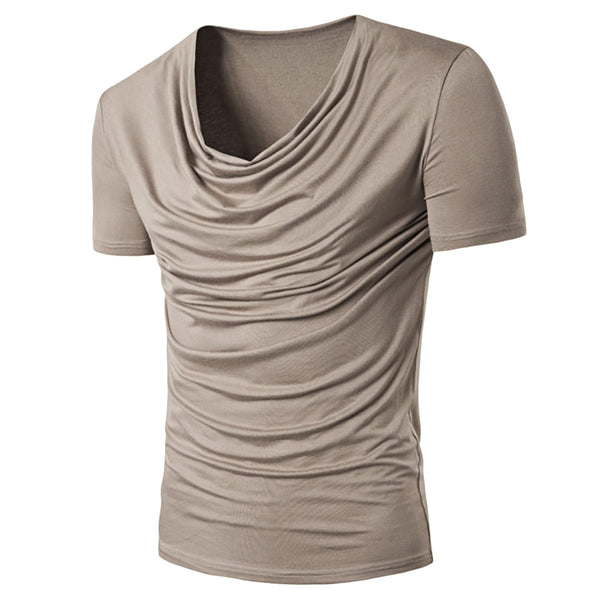 Scoop Neck Strechy Ruched T-Shirt 9873