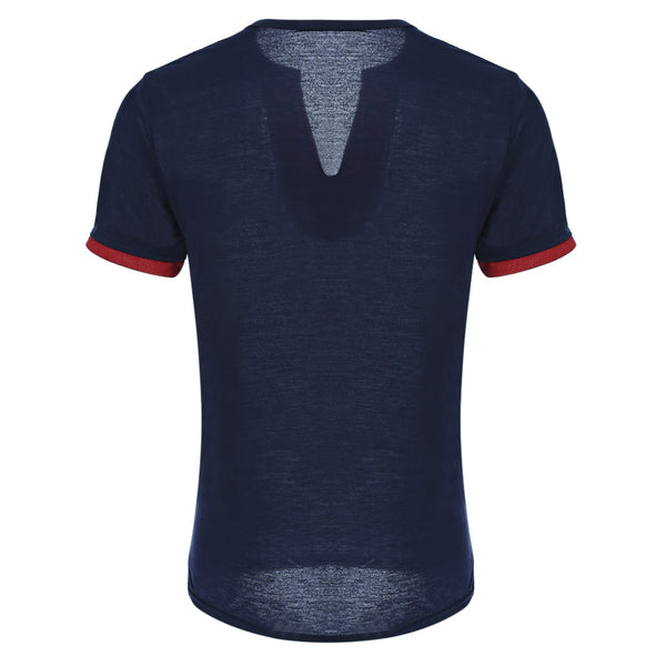 Button Design Color Block Slim Fit Short Sleeve Men T-shirt 9182