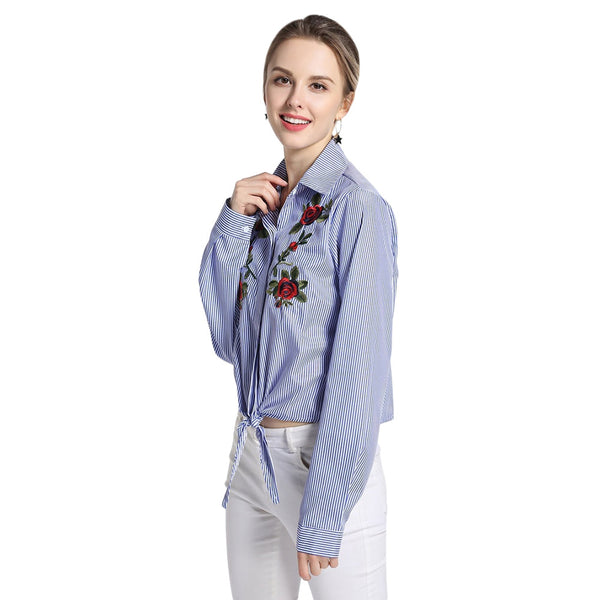 Long Sleeve Vertical Stripe Floral Embroidery Women Shirt 4487