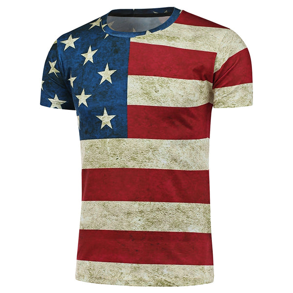 Short Sleeve Crew Neck Distressed American Flag T-Shirt 8288