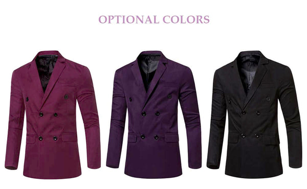 Simple Design Solid Color Pocket Decoration Double-breasted Male Suit Jacket 2570