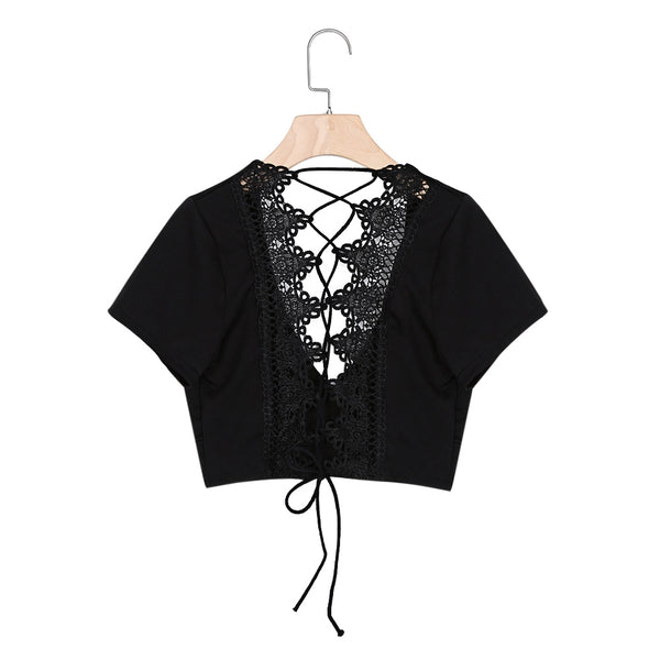 Sexy V Neck Short Sleeve Lace-up Crochet Women Crop Top 9933