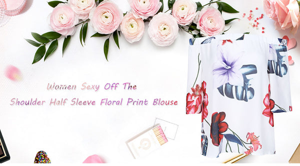 Trendy Off The Shoulder Half Sleeve Floral Print Women Blouse 9716