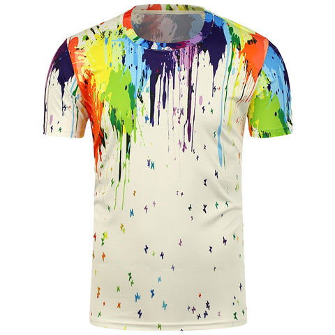 Paint Splatter Men Short Sleeve 3D Printing T-Shirt 1527