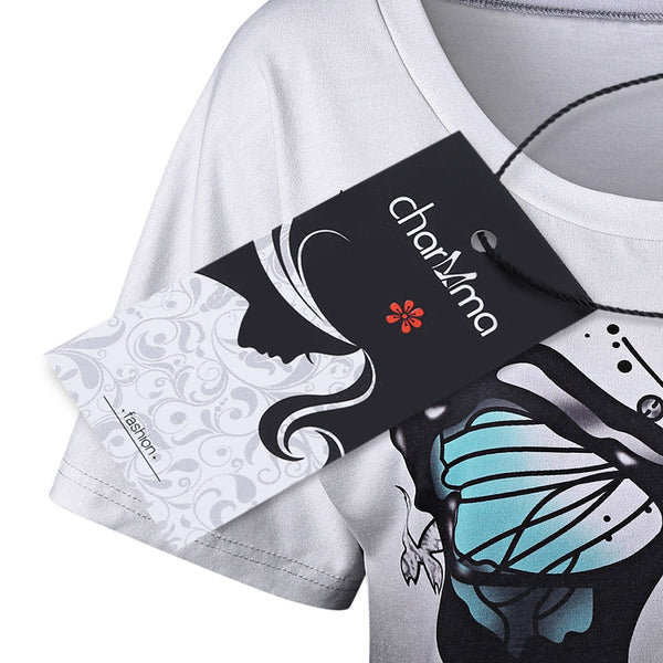 Butterfly Print Ombre T-Shirt 9146