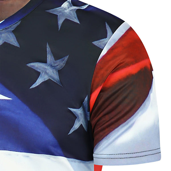 3D Eagle Stars and Stripes Printed T-Shirt 6336