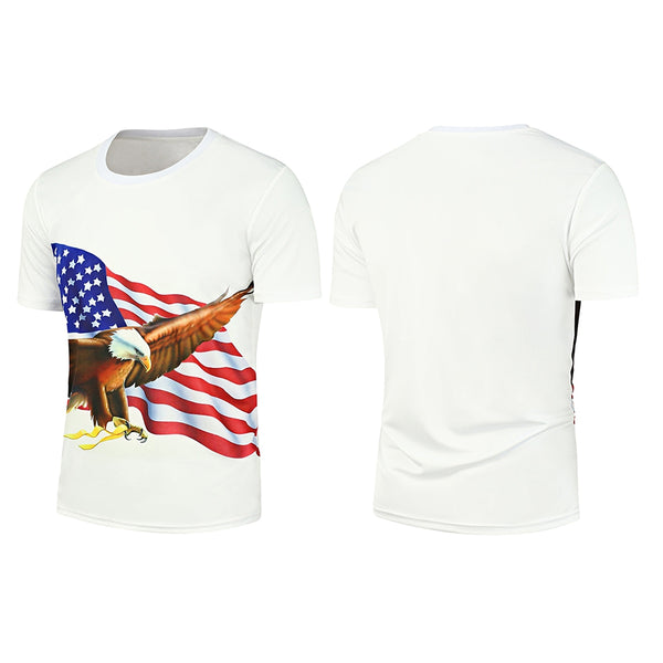 Slim Fitting Short Sleeve Eagle Pattern 3D T-Shirt for Man 9242