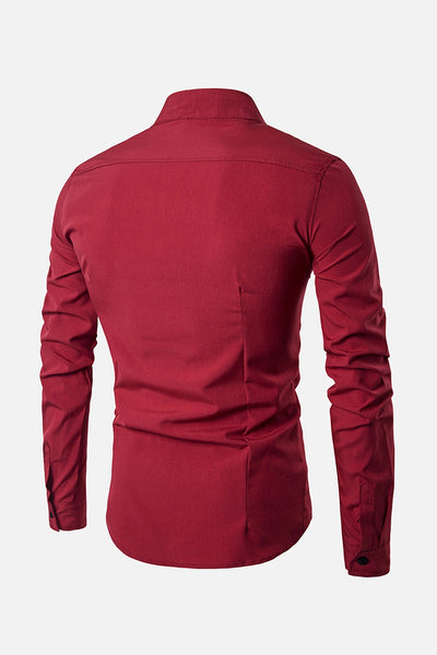 Stand Collar Cotton Long Sleeve Shirt for Man 5860