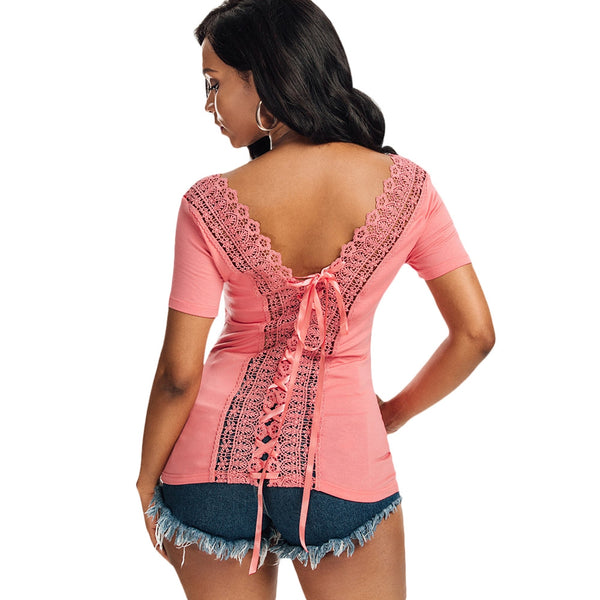 Scoop Neck Lace-up Laced Top 7081