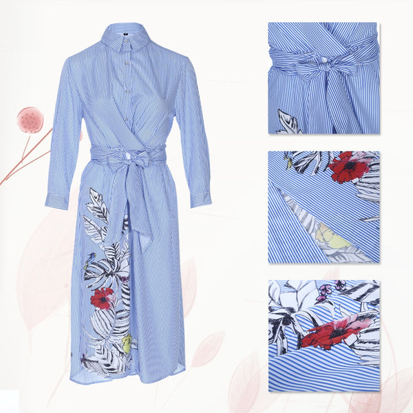 Stylish Long Sleeve Stripe Floral Print Button Women Shirt 7881
