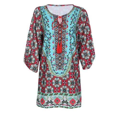 Trendy Round Collar 3/4 Sleeve Print Fringed Women Dress 8989