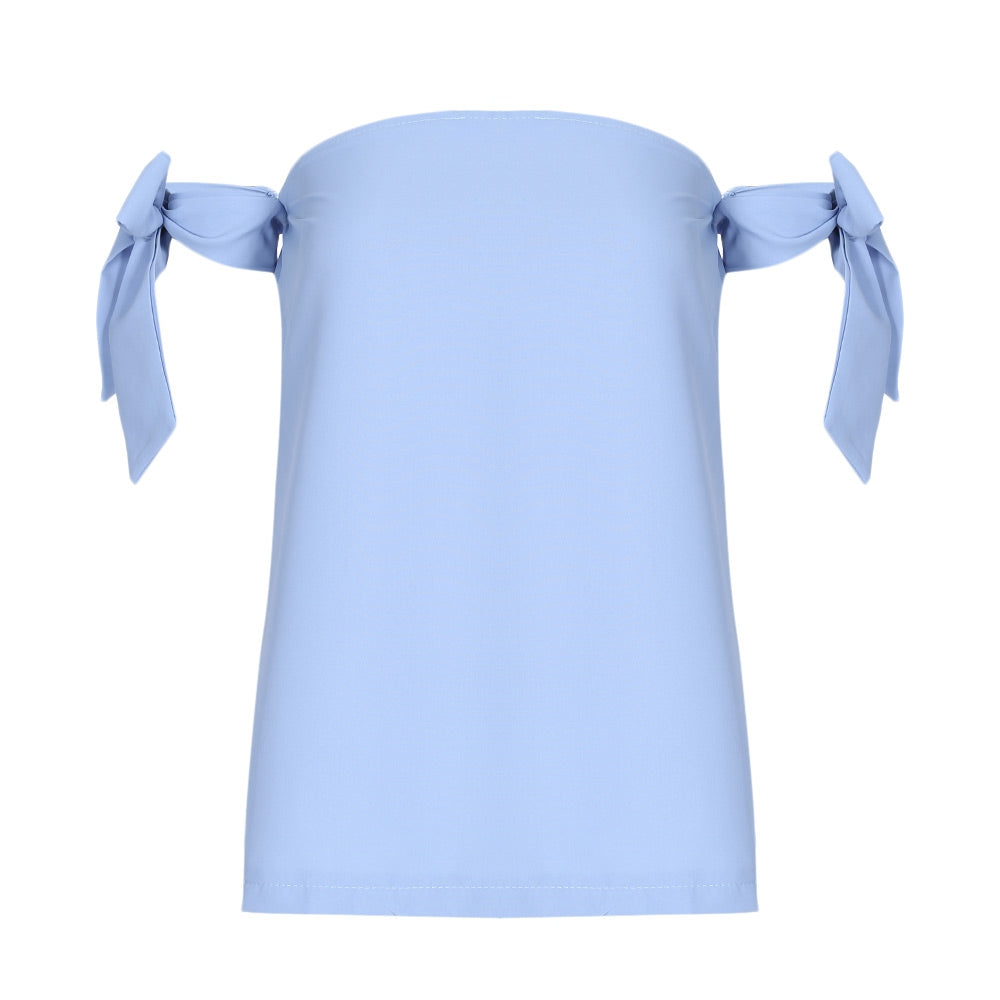 Off The Shoulder Sleeveless Tied T-shirt for Women 3936