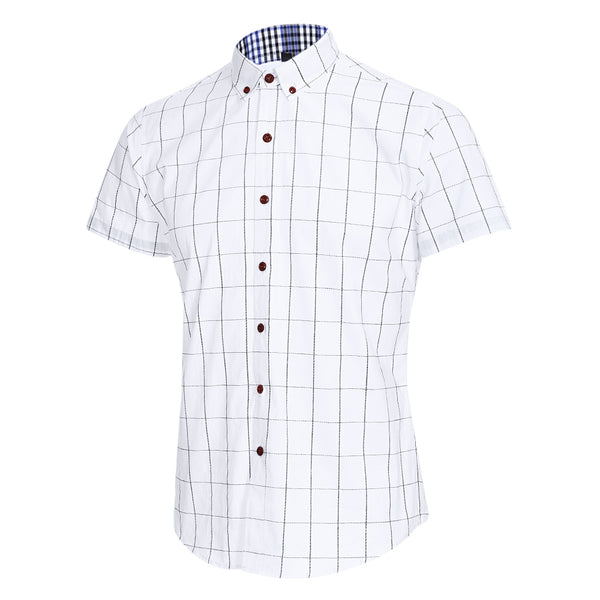 Plus Size Lapel Collar Short Sleeve Plaid Man Shirt 7031