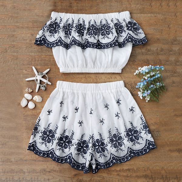 Embroidered Crop Top with Shorts 1112
