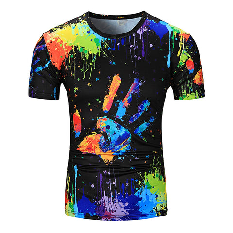 Splatter Paint Printed Short Sleeved Men T-Shirt 2057