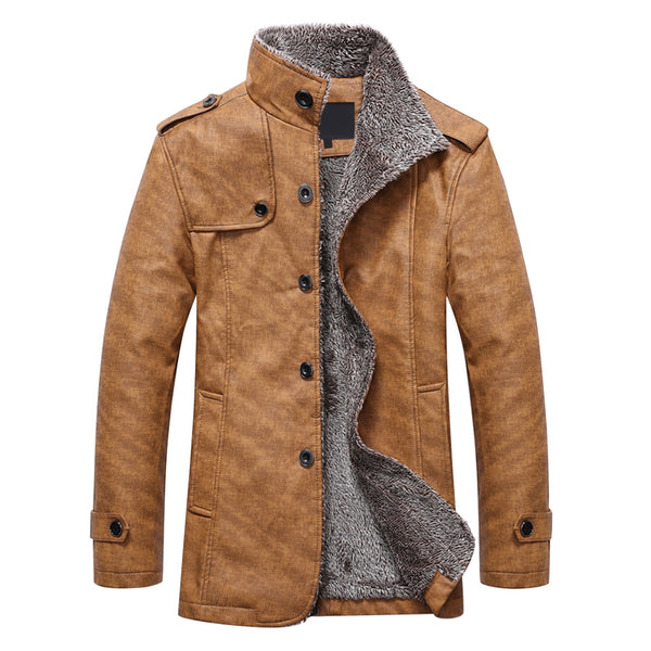 Stand Collar Faux Leather Single-Breasted Men Outwear Jacket 2887